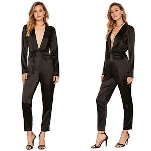 Nasty Gal Satin Plunging Black Jumpsuit